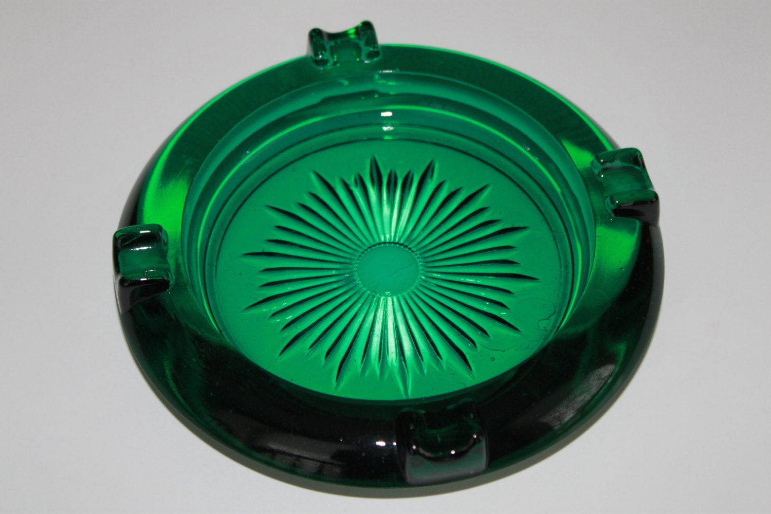 vintage blue green glass ashtray  mad men by goodpennydesigns
