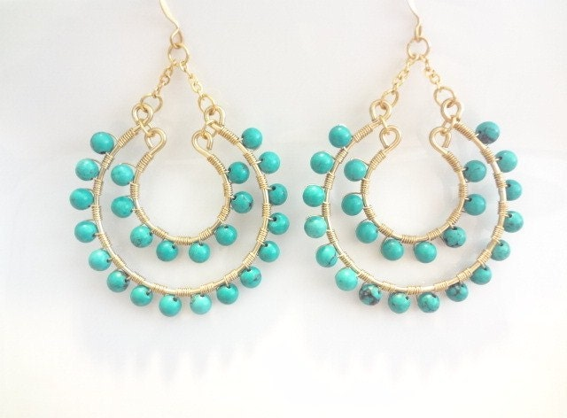 Turquiose, Wire Wrapped 14K Gold Filled, Large Dangle Hoop Earrings, Chanderlier, Weddings, Bridesmaids, Handmade Jewelry, Jewellery - viancamercedes