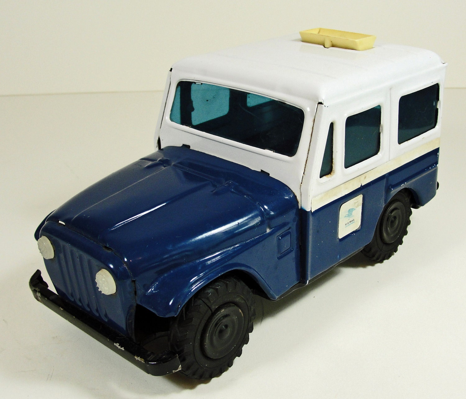SALE Vintage Metal Jeep US Mail Truck Bank 60s by