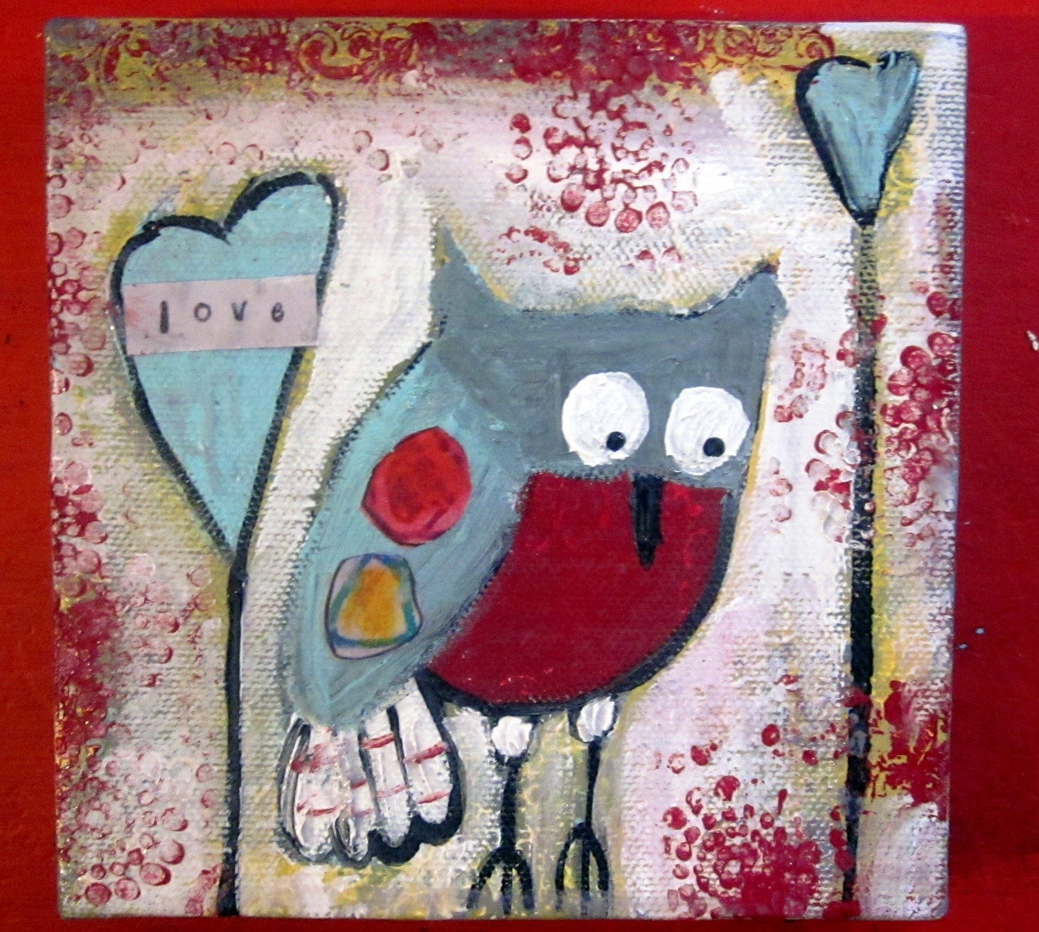 Whimsical owl looking for love, 5 x 5 mixed media original - sunshinegirldesigns