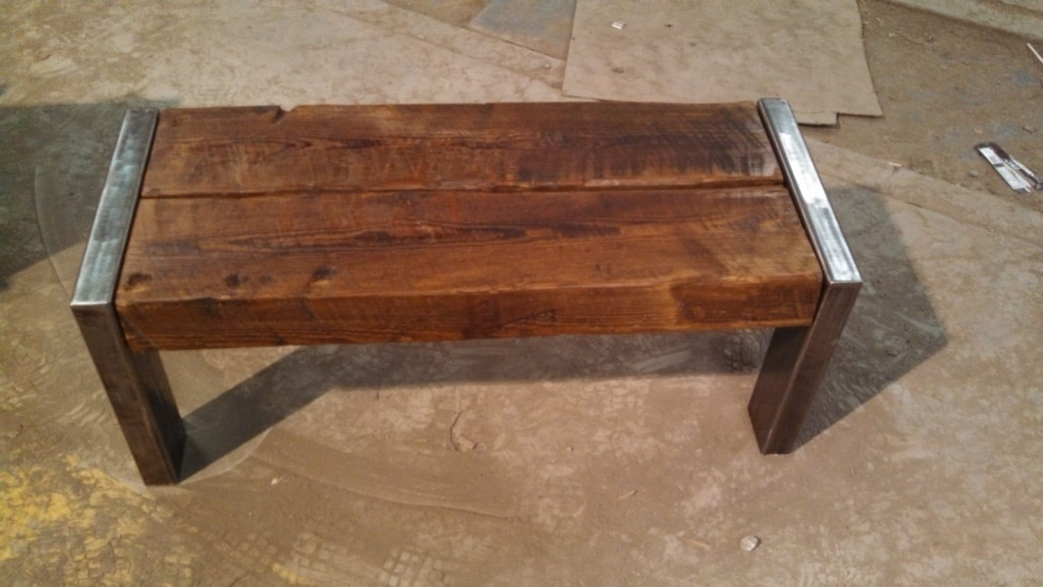 Rustic Bench Coffee Table Rough Cut Pine By Farmhousewoodandiron