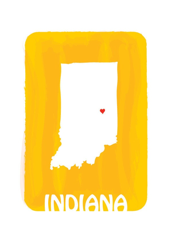 indiana map mango yellow personalized custom color by