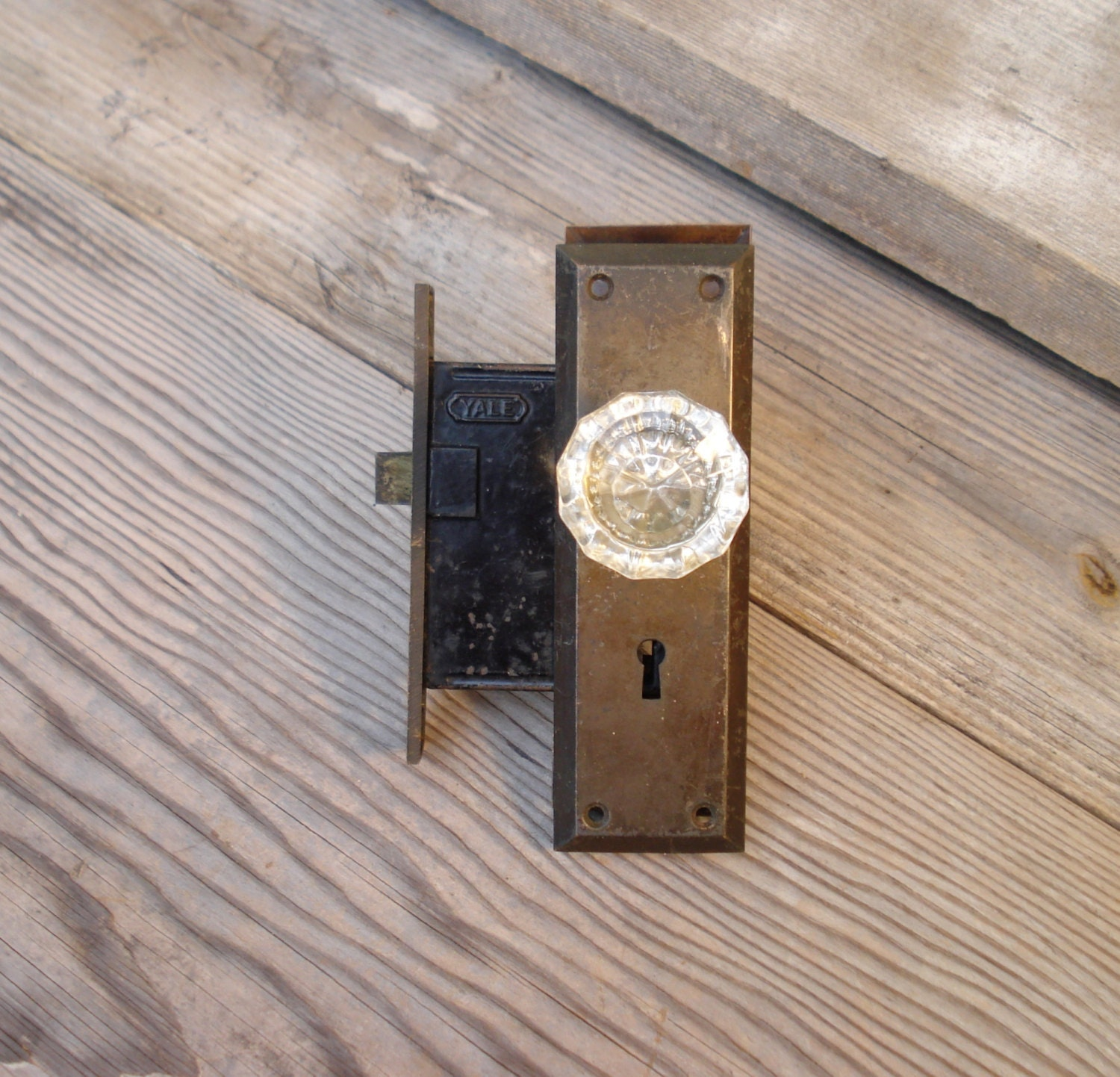 Vintage yale door lock with fluted glass by alegriacollection for 1940 door hardware