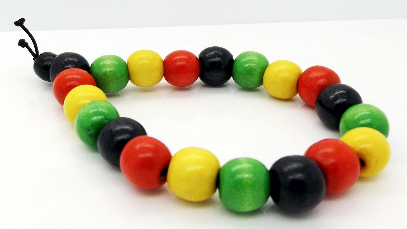 African Rasta Beaded Mala Bracelet Dyed Wood Beads 7.5 Wristband  Handmade By TaKuKai