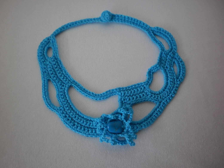 Бирюзовый Freeform вязание крючком ожерелье Мода осень