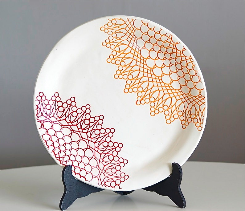 Fiesta Plate - Red and Orange