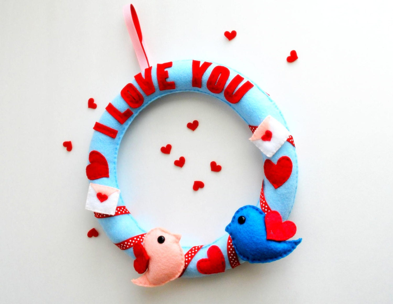 Valentine I love you Felt Wreath with  love birds, totally Handstitched Ecofriedly Felt