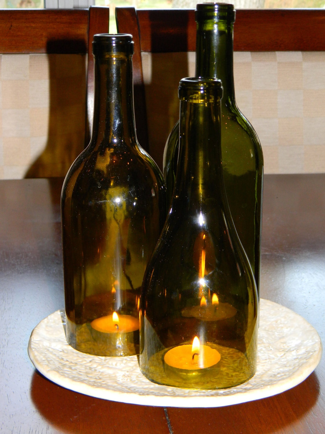 Simply elegant wine bottles centerpiece by cabernetlights