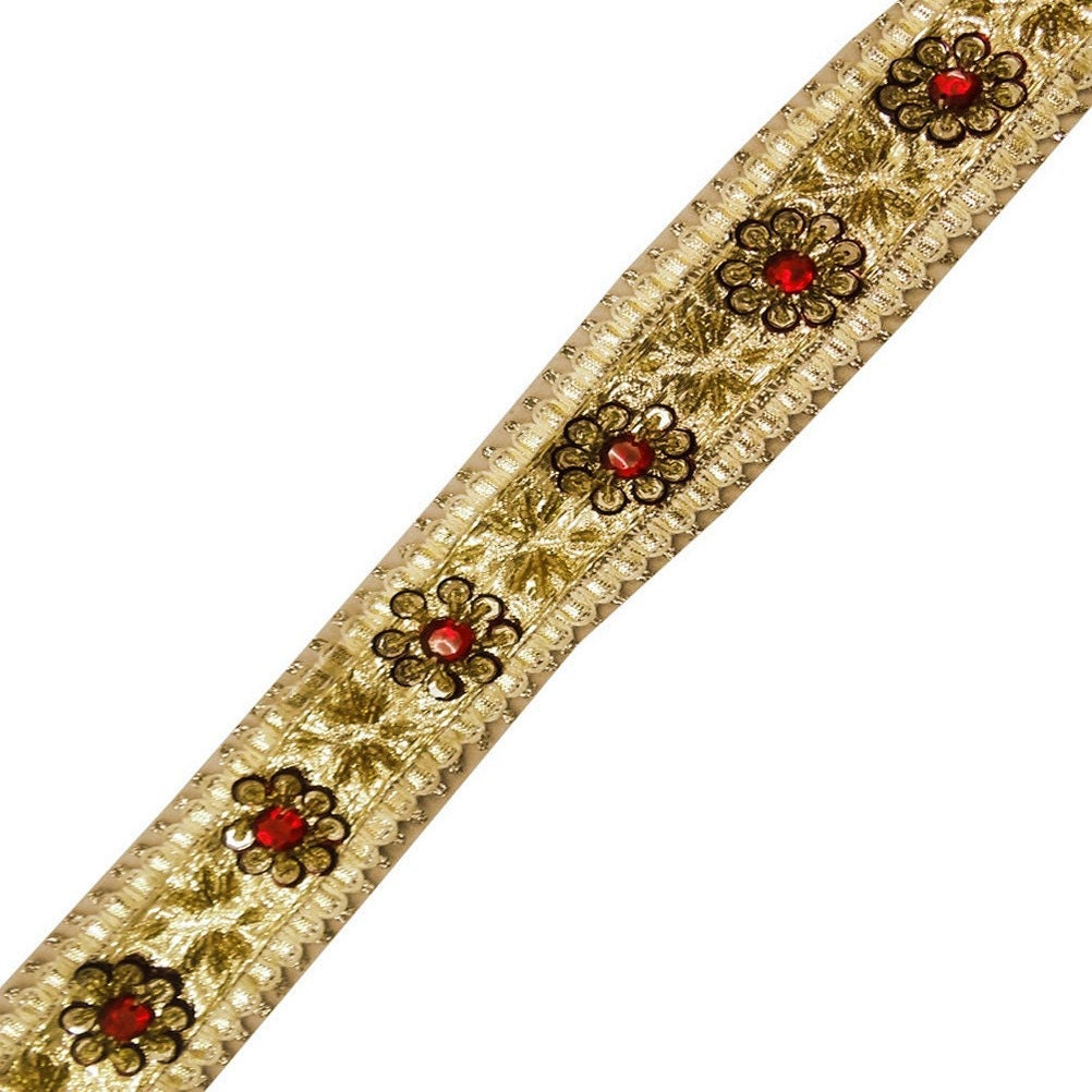 gold beaded trim sari border sewing dress by