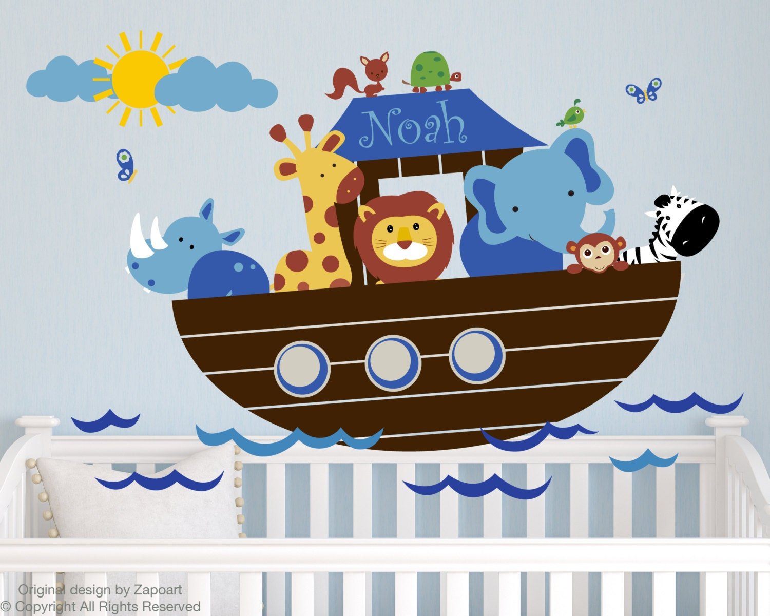 28 noah ark wall stickers noah s ark wall decal jungle wall noah ark wall stickers children wall decal noah s ark with personalized name by