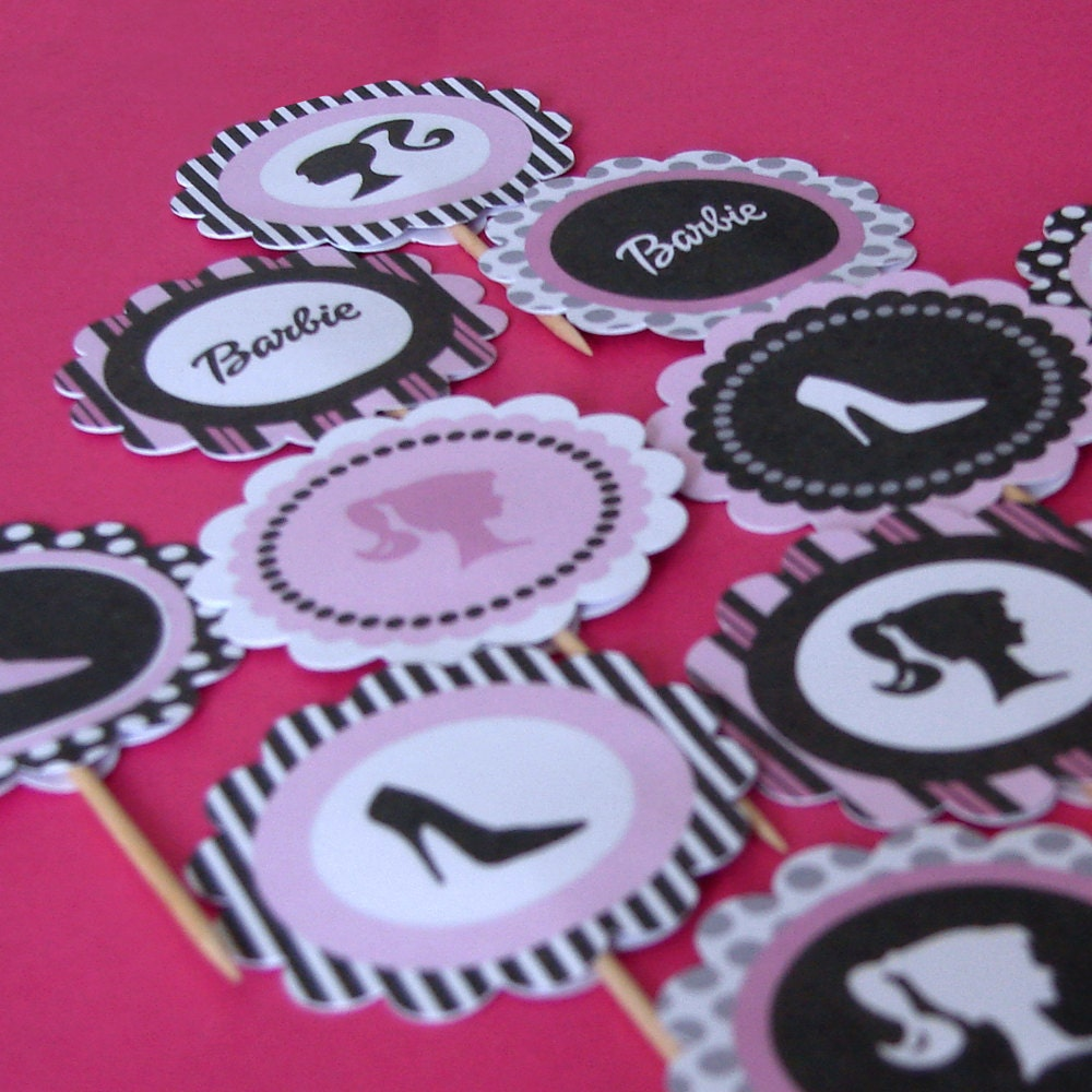 diy printable barbie inspired cupcake toppers by