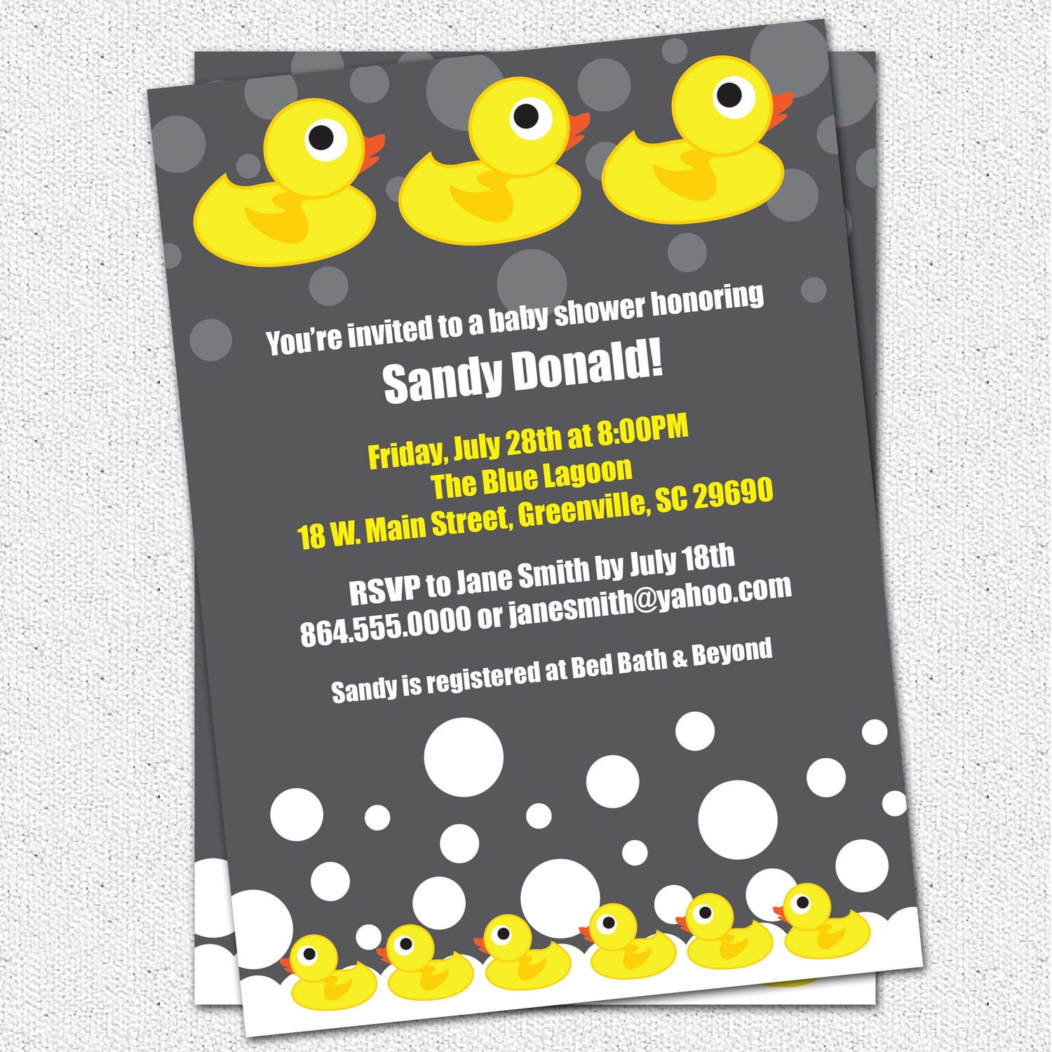 baby shower invitation printable rubber duck by ohcreativeone