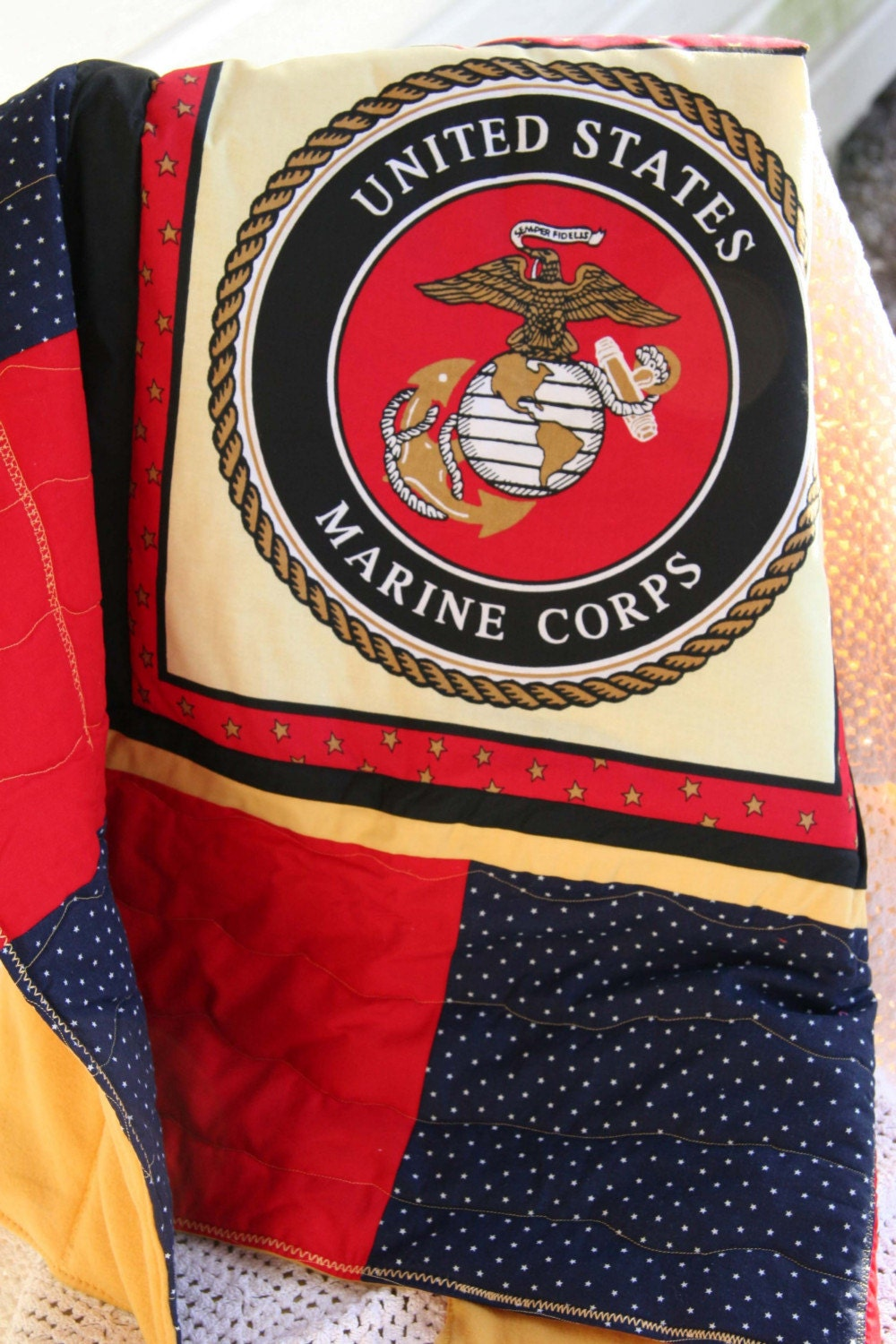 Marine Corp Emblem Baby Quilt by cottontopquilts on Etsy