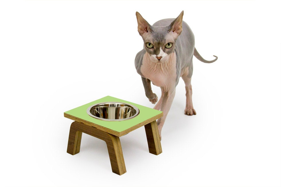 Single Bowl Diner // Mid Century Modern Elevated Pet Feeder // Six Retro Colors // Cat & Dog Dishes - modernistcat