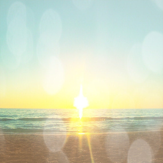Beach Sunset Bokeh Art Print - Aqua Yellow Soft Beach House Wall Art Home Decor Photograph - SevenElevenStudios