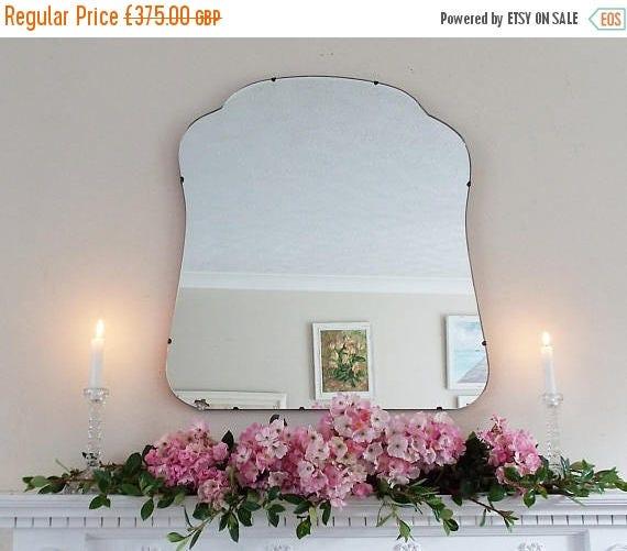 SALE Large Modernist Mirror MidCentury Mirror Art Deco mirror frameless mirror Bevelled edge beveled mirror  M226