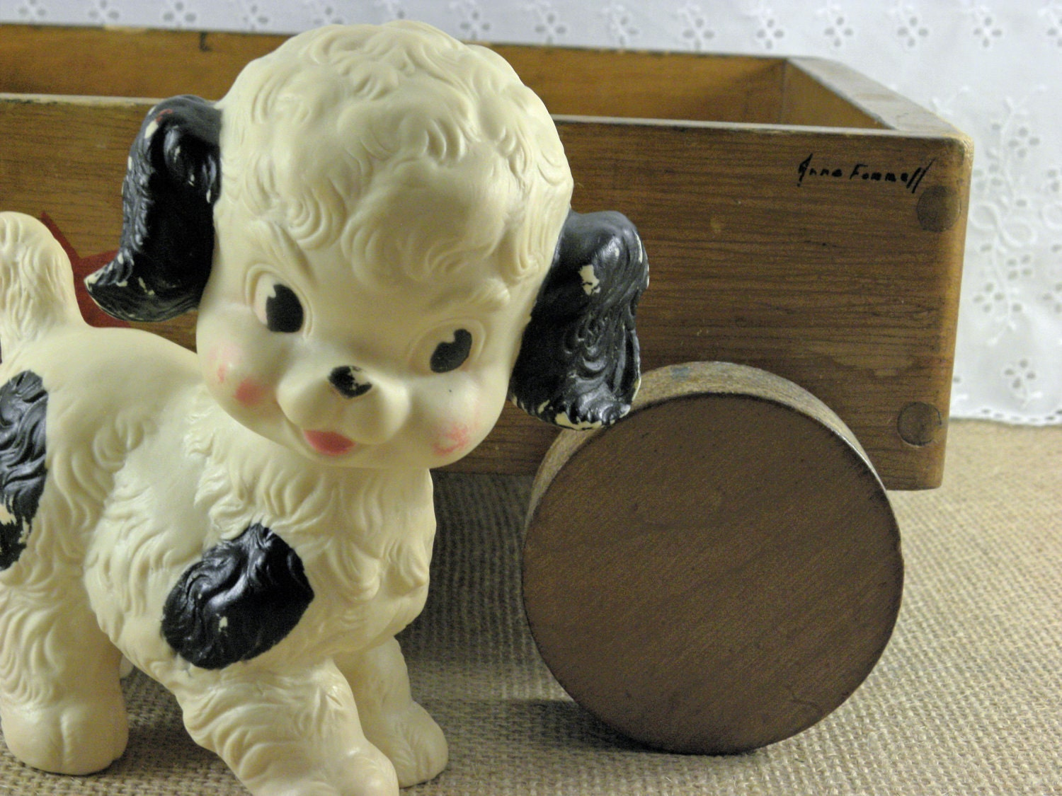 Toddler Toys Black And White : Vintage squeaky toy black and white baby dog by