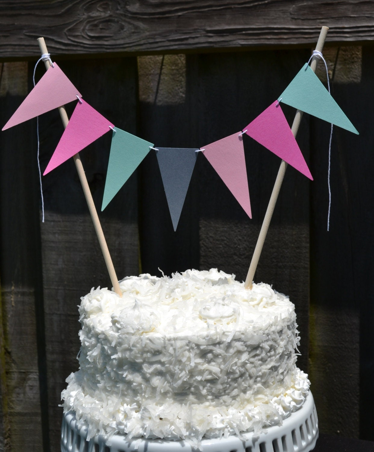 flag garland cake topper- baby girl