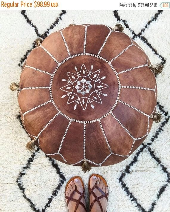 30 OFF SALETassel PoufTan Brown Moroccan Leather Pouf with Tassels  for Home gifts wedding gifts anniversary gifts foot stool