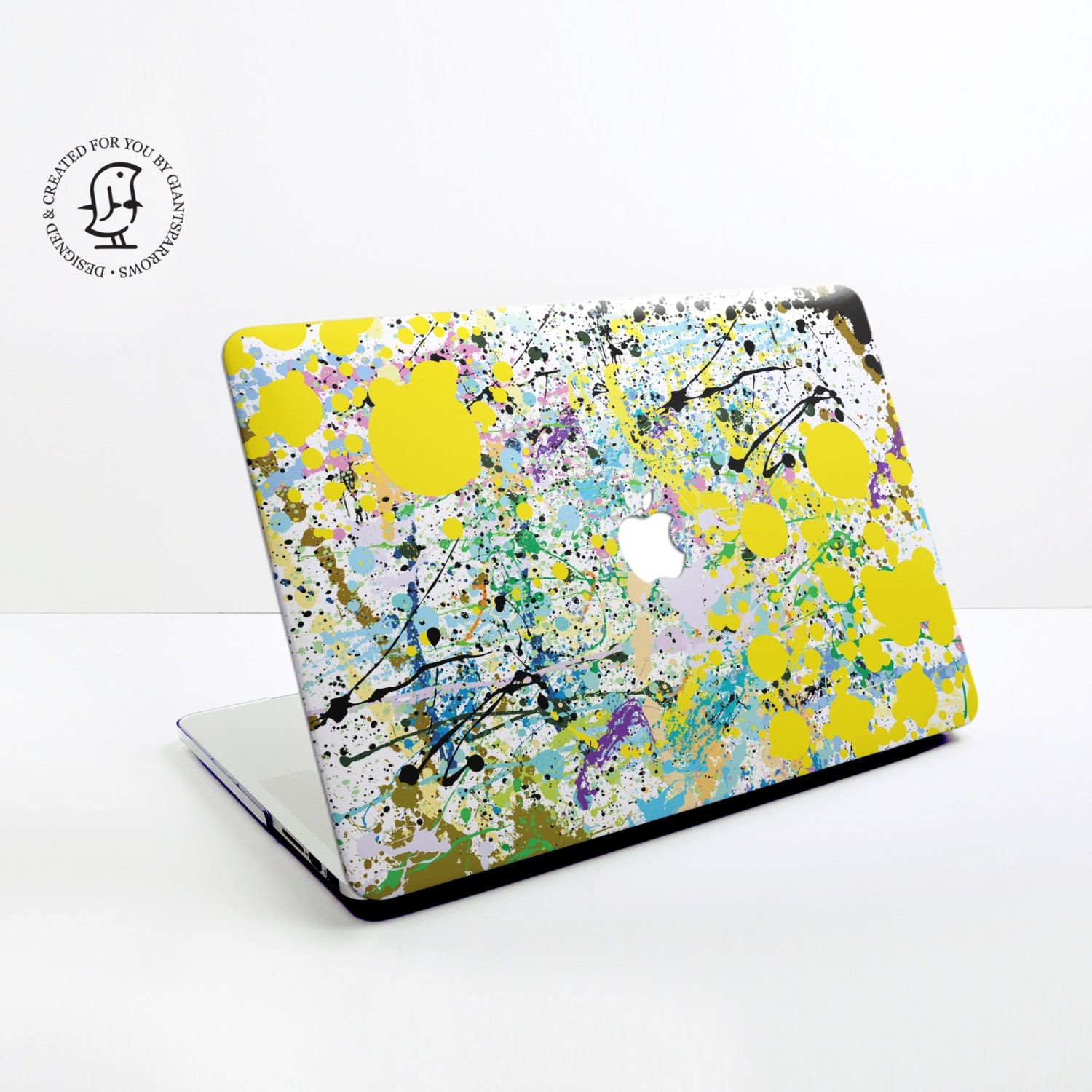 Paint splat Design in Yellow Black and Blue  MacBook Hard Protective Case for MacBook Pro Air Air Retina Pro Retina  2016 MacBook Pro