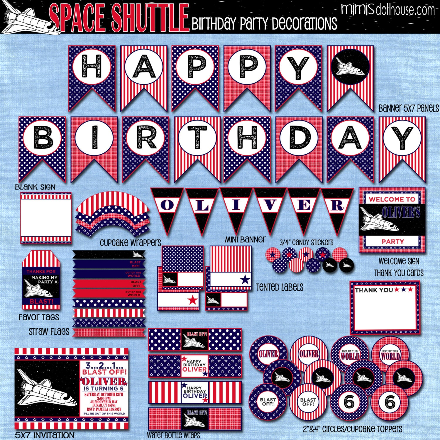 Space shuttle decorations printable space birthday party decorations