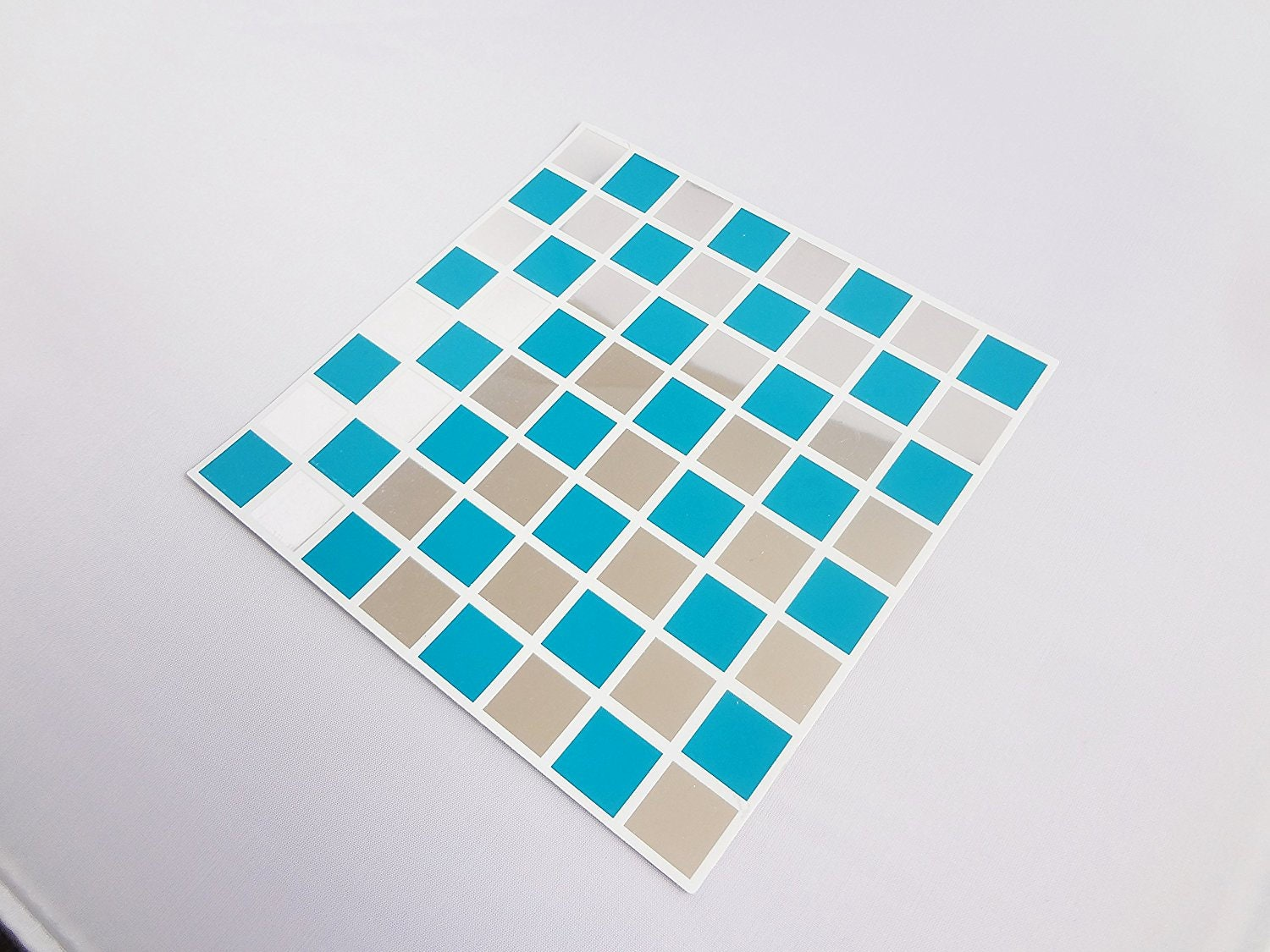 Pack of 10 Blue and MIRROR mosaic tile stickers transfers with added gloss affect just peel and stick bathroom kitchen