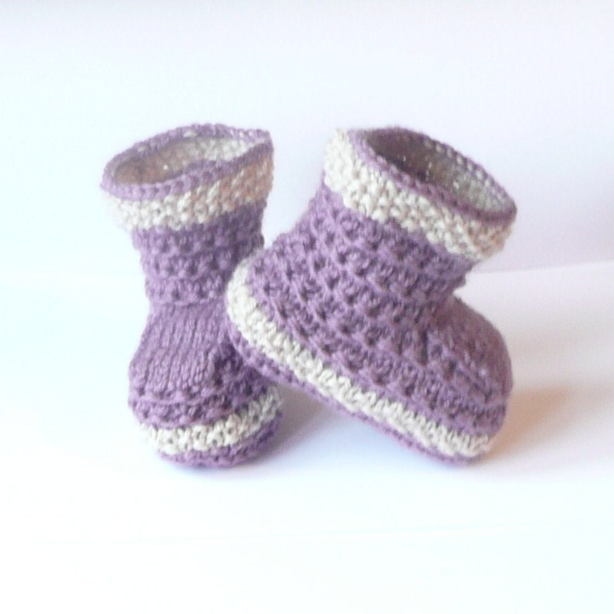 Easy Knitting Pattern For Babies Booties : Knitting pattern baby booties simple seamless lilac by ceradka