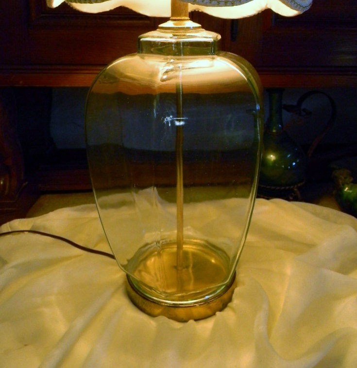 vintage clear glass table lamp fillable base by. Black Bedroom Furniture Sets. Home Design Ideas
