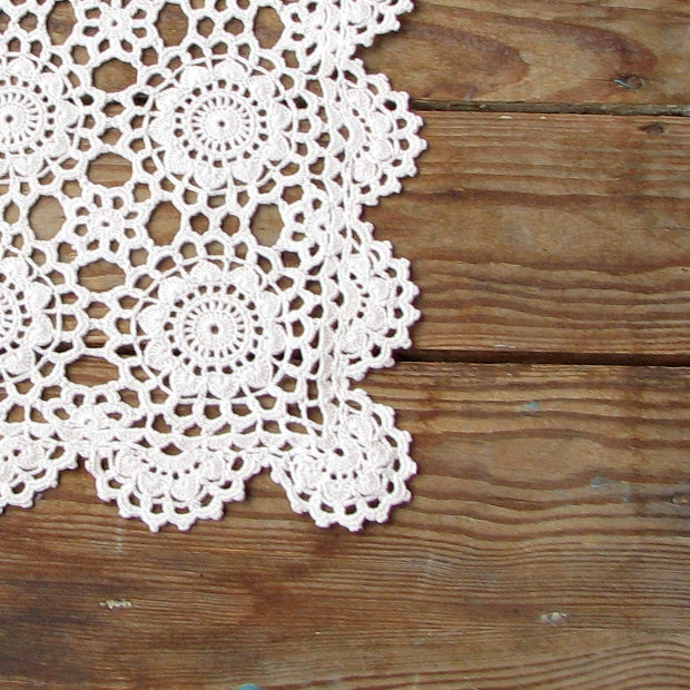 shabby chic home decor crochet vintage doily by damovfashion