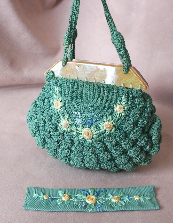 Vintage Crochet Clutch Pattern : Vintage 1930s Crochet Handbag with Bakelite by momodeluxevintage