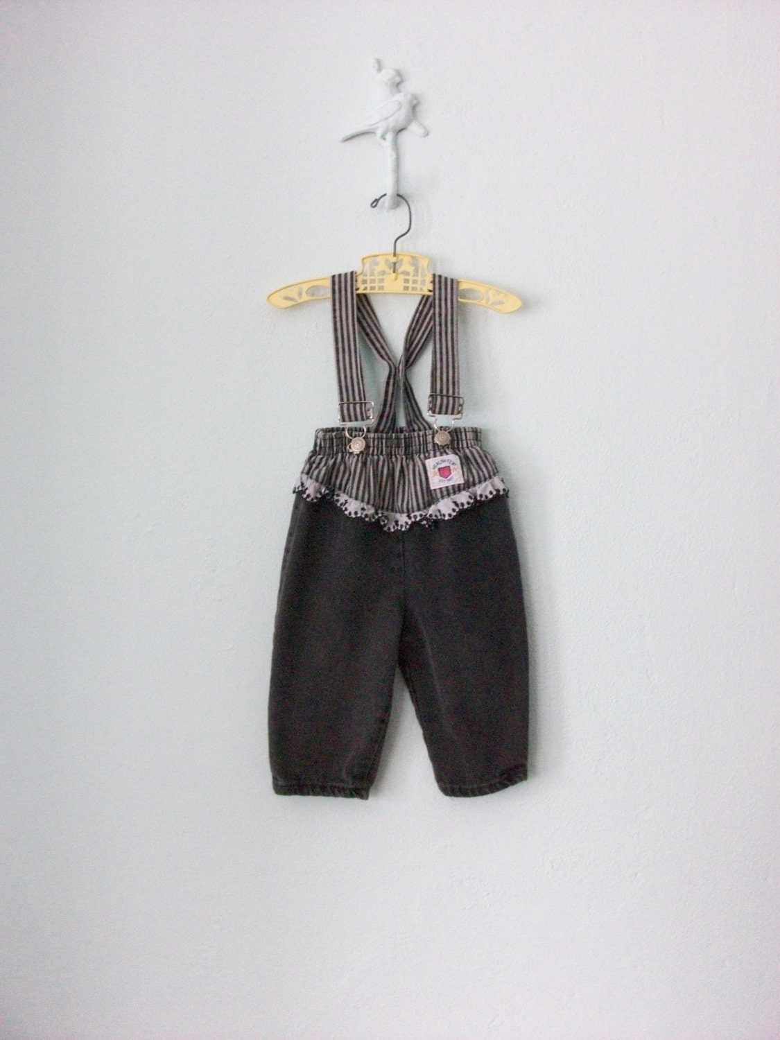 Ruffle Jean Overalls ... Toddler Girls Suspender Pants ... 24 months - sparvintheieletree
