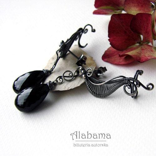Long ear cuffs with black spinel - OOAK, modern silver earrings - FREE SHIPPING worldwide!!! - AlabamaStudio
