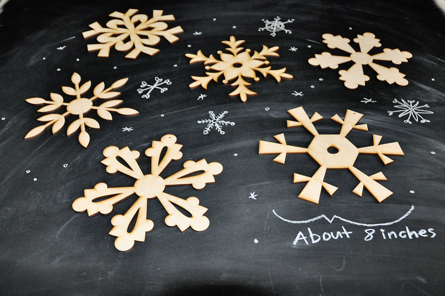 diy wooden snowflake decorations large set of 6 by