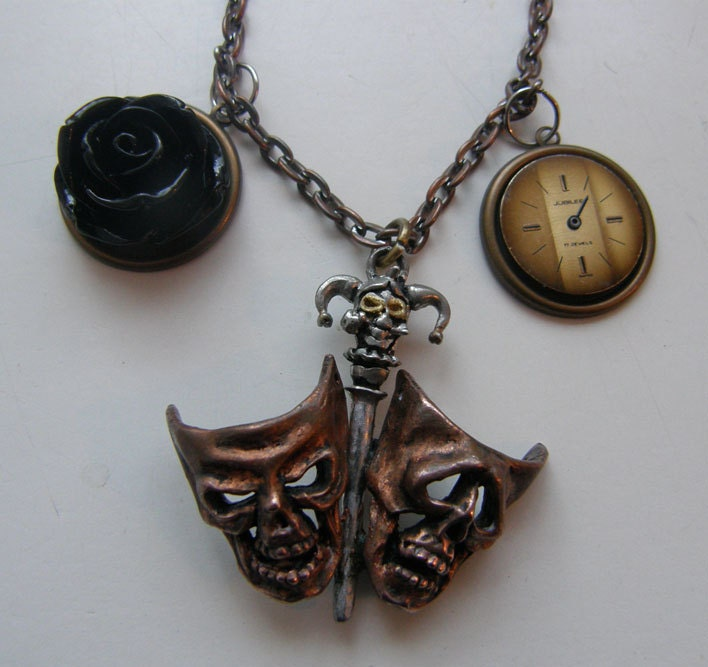 Theatre of Tragedy mask, rose, and watch dial steampunk goth necklace
