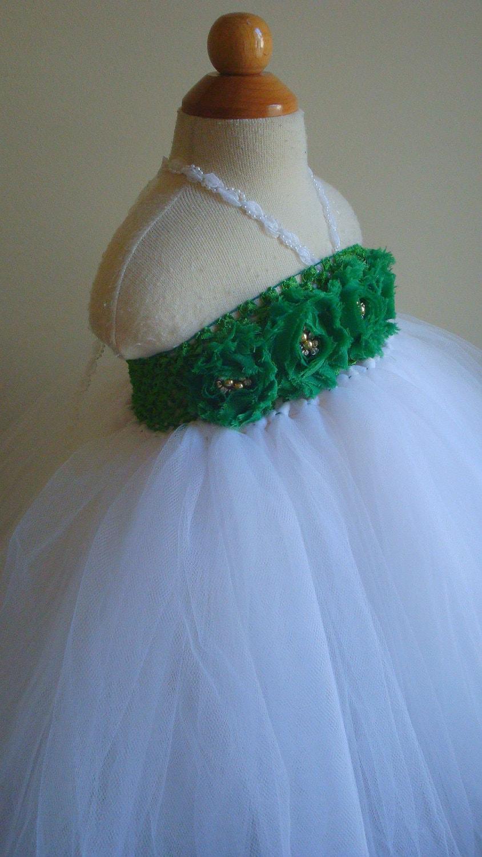 White And Emerald Green Flower Girl Dresses 34
