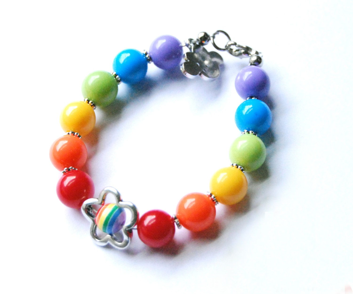 Zose Designs Girls rainbow bubble gum bracelet
