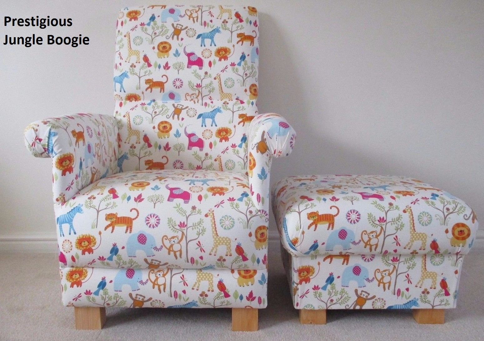 Prestigious Jungle Boogie Fabric Adult Chair  Footstool Nursery Zoo Safari Animals Elephants Tigers Lions Monkeys Zebra Nursing Armchair