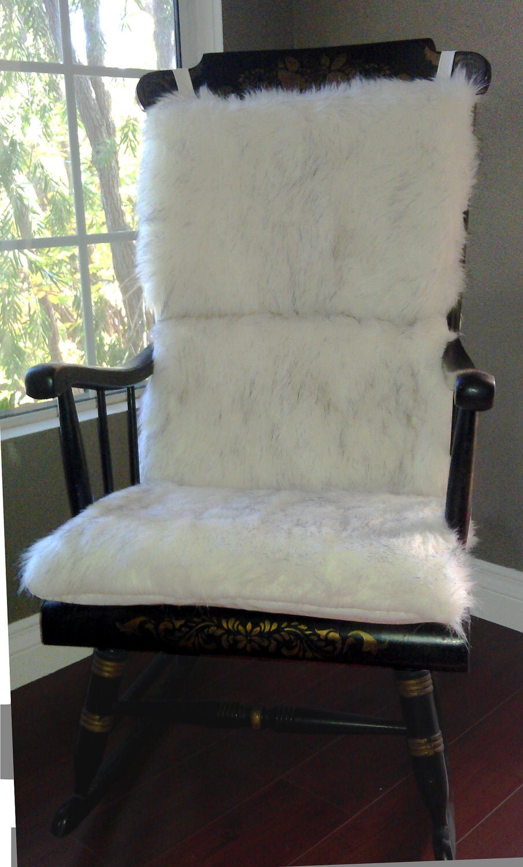 Rocking Chair Cushion White Faux Fur By Rockincushions On Etsy
