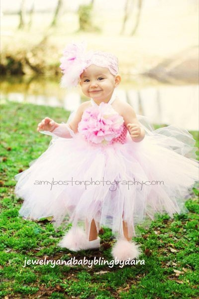Custom Boutique Baby Bling Pink and White Peony Marabou Feather Posh Tutudress Gorgeous for Easter Weddings Portraits