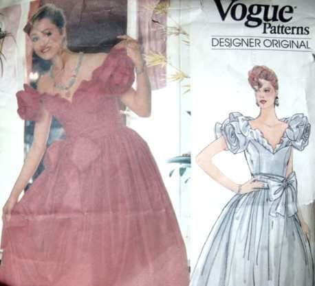 Vintage Belleville Sassoon Vogue Designer Original Sewing Pattern Ball Gown Formal Wedding Bridesmaid Rose Sleeves Bow V Neck 80s 34 Bust