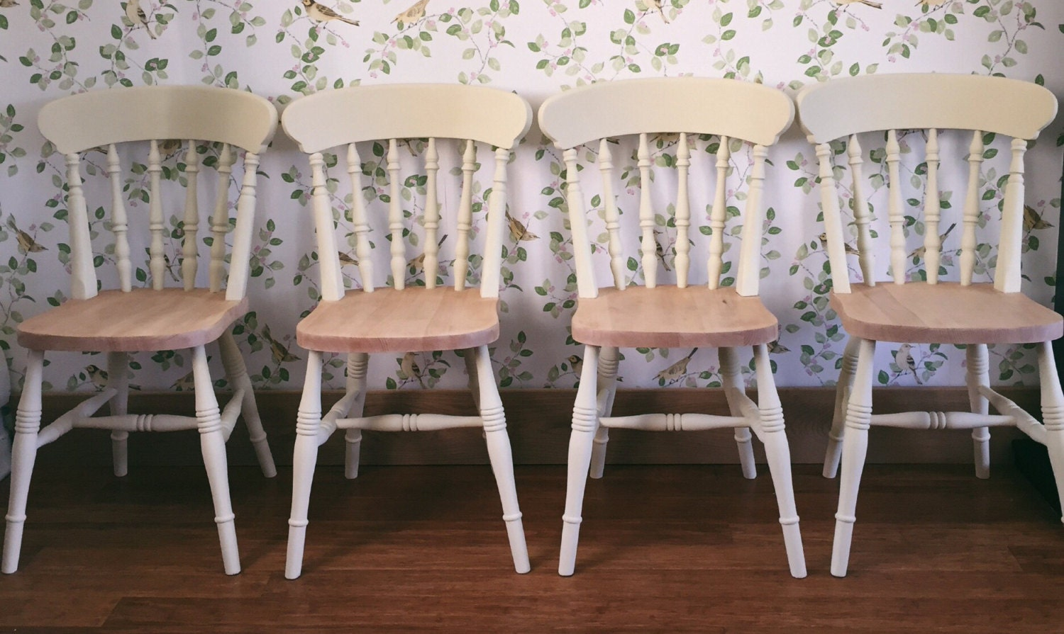 Farmhouse Chairs Four Solid Pine Hand Painted Shabby Chic Kitchen Dining Chairs  Sourced To Order