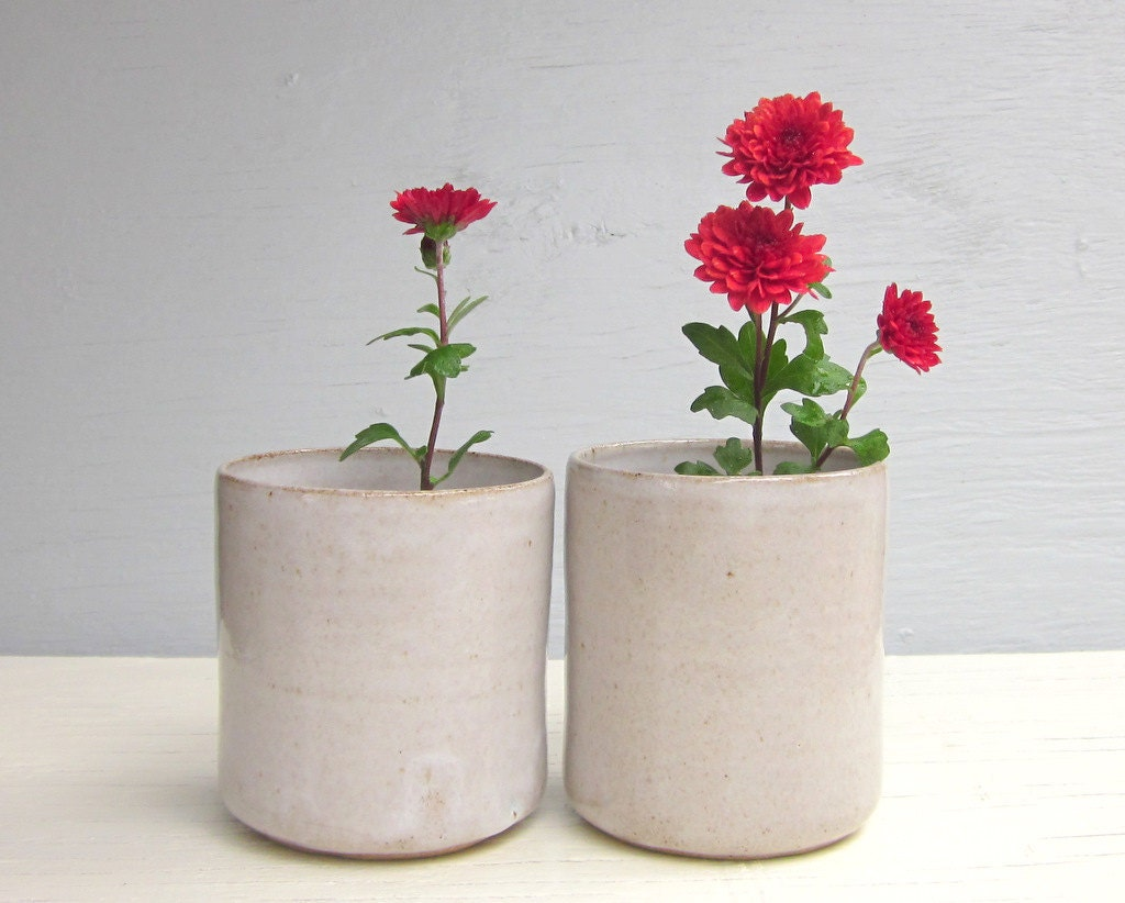 2 white handleless clay tumblers cups or wine glasses  - small, modern - JDWolfePottery