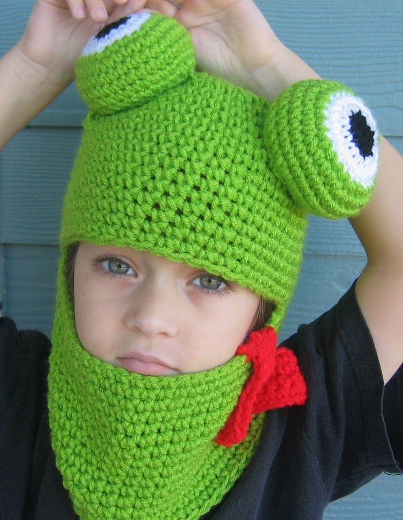 Free Knit Pattern Baby Frog Hat : Crochet Pattern Frog Hat Hood for Adult Child by ...