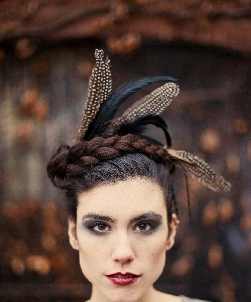 Crown of Love VI - Black feathered headpiece - captured wild - Minxshop