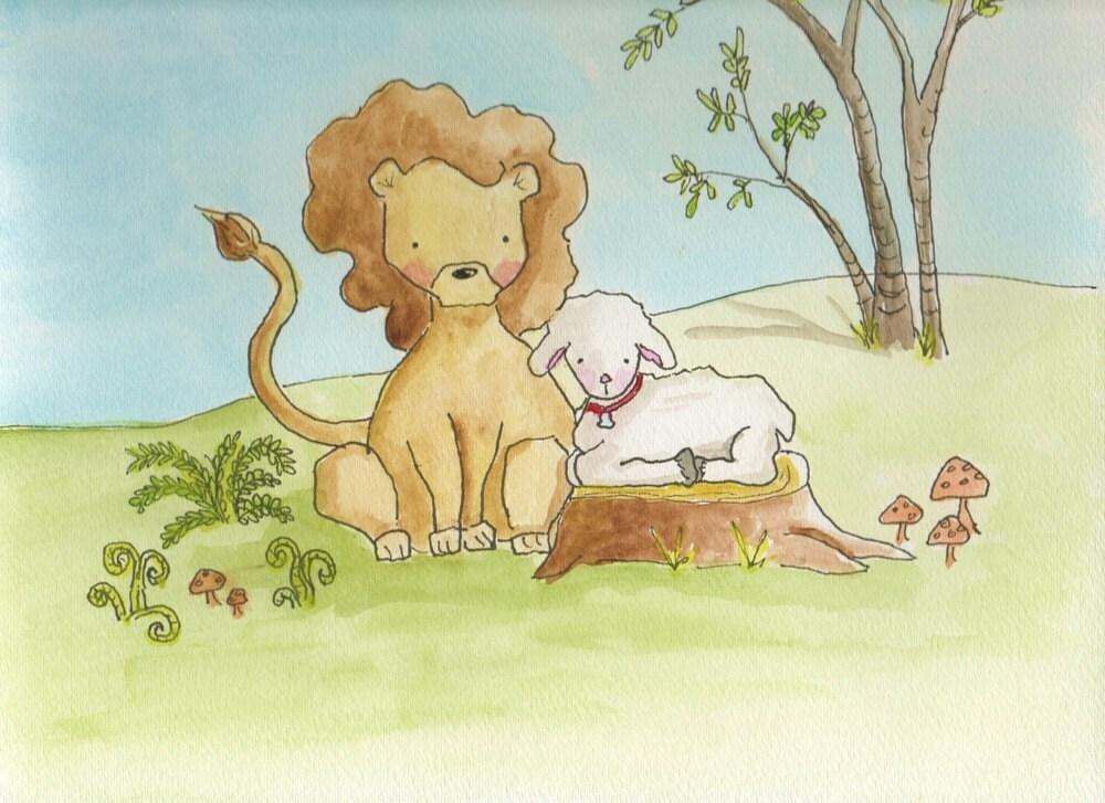 LION AND LAMB Original Watercolor Print
