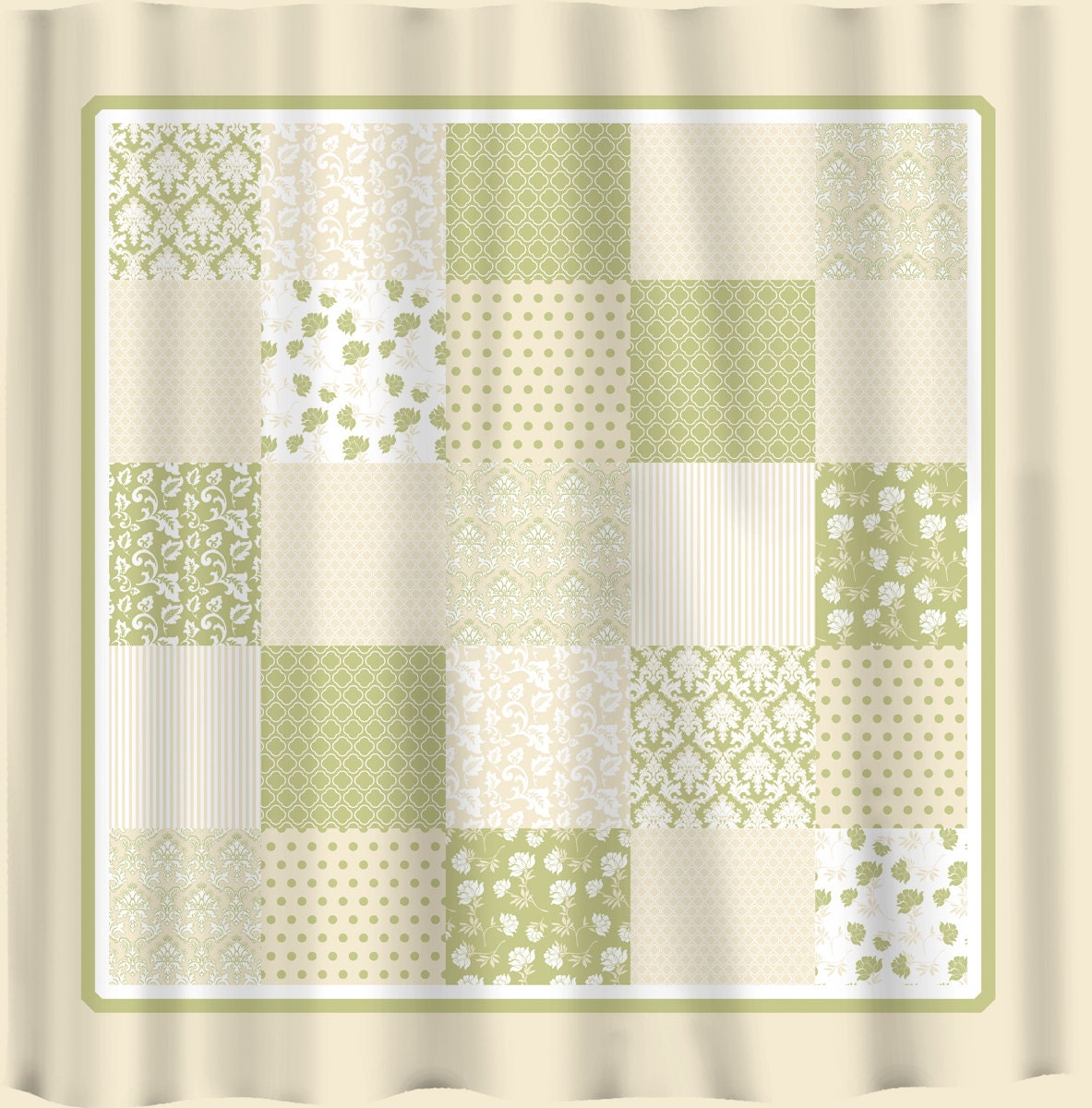 French Country Patchwork Shower Curtain Sage Green By