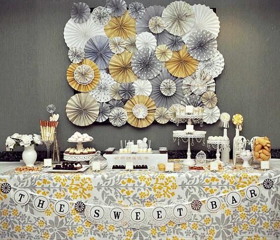 Wedding Dessert Table Backdrop: Romantic Green & Cream Vintage Wedding Paper By KaLiceEvents