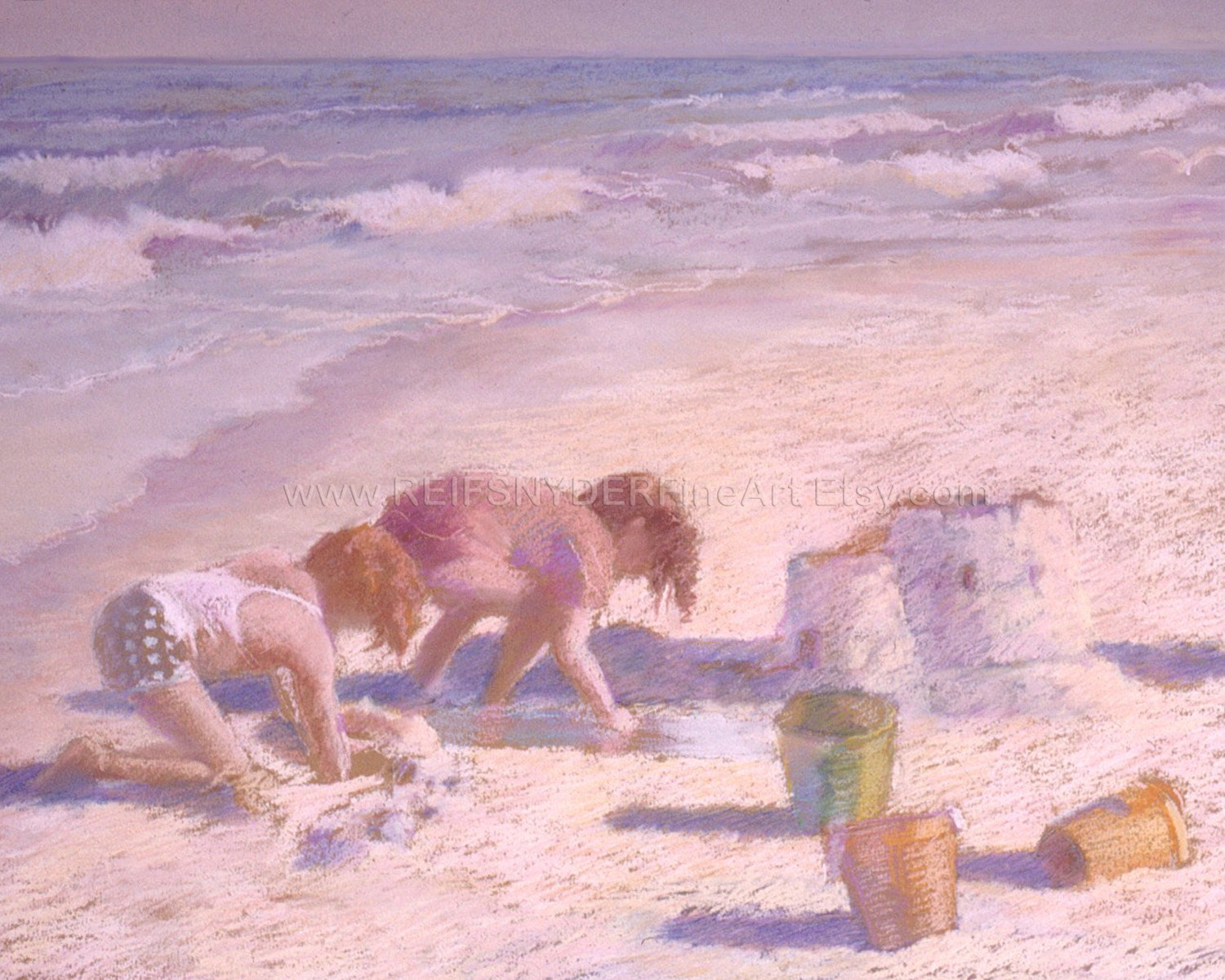 Giclee beach print of two children, playing in sand,sandcastle,ocean,shore,seashore,blue,yellow,pink,lavender - REIFSNYDERFineArt
