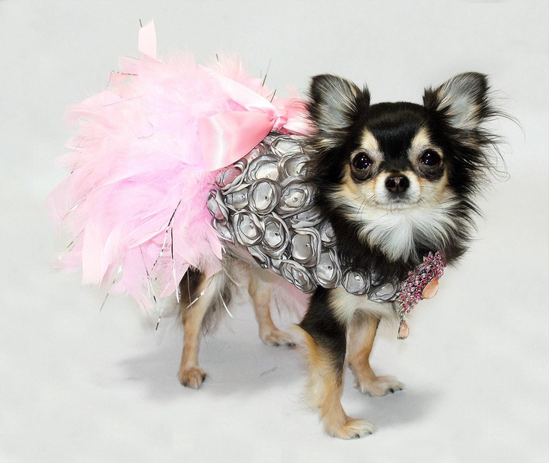 Платиновый Принцесса перо Harness собак платье