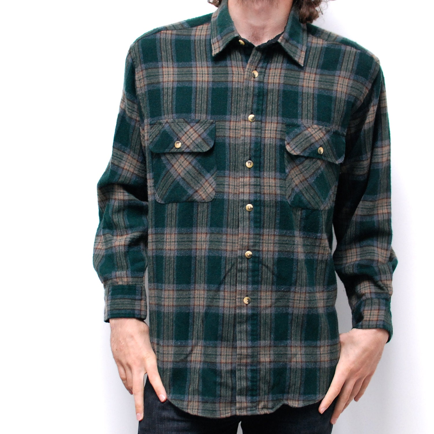 Grunge flannel plaid long sleeve button up shirt by for Button up flannel shirts